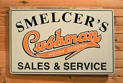 Amazing Smelcer's Cushman's Motor Scooter Porcelain Steel Sign June 1942 40x25