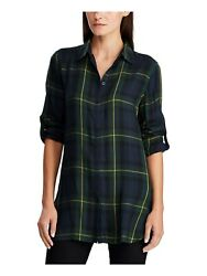 Womens Navy Tattersall Cuffed Collared Button Up Top Ps