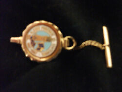 Alaska Purchase Centennial 1867-1967 Tie Pin W/ Chain And Bar Collectible Goldtone