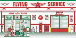 Flying A Old Gas Pump Service Station Scene Wall Mural Sign Banner Garage Art