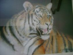 Original Pastel And Charcoal Paint Animal Life Style