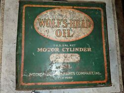 Rare Vintage Wolfandrsquos Head Wolverine Lubricants Ny Motor Cylinder Oil Can 1 Gallon
