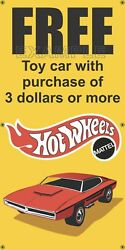 Shell Gas Station Free Hot Wheels Car Old School Sign Remake Banner Art Size Opt
