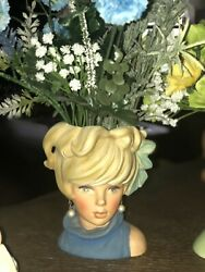 Vintage Lady Headvase Enesco Japan Pink White Outfit Large Matching Bow 7 Rare