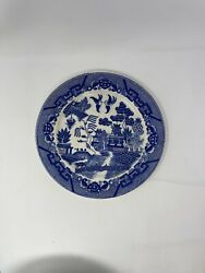 Antique Blue Willow Porcelain Blue And White Birds Plate Very Old Japan