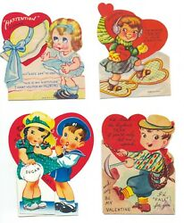 Antique Vintage Set Of 4 Adorable 1930s To 1940s Valentine Greeting Cards