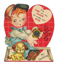 Antique Vintage Youand039d Better Watch Out Boy And Clock Mechanical Valentine Card