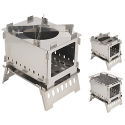 Camping Stove Barbecue Grill Bbq Outdoor Folding Wood Furnace Stainless Steel