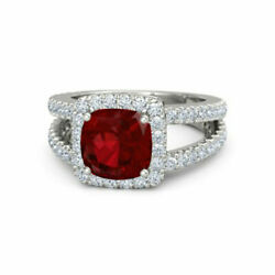 Cushion 2.77 Ct Real Diamond Ruby Gemstone Ring Solid 14k White Gold Size 7 8 9