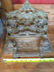 Vintage Brass Cherub Double Inkwell And Letter Holder Desk Accessories
