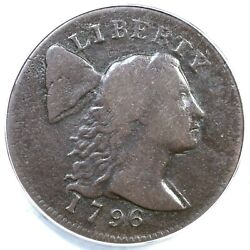 1796 S-83 R-4 Anacs F 12 Details Liberty Cap Large Cent Coin 1c