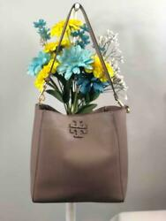 TORY BURCH Mcgraw Grey Pebbled Leather Hobo Shoulder Bag $215.99