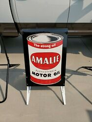 New Old Stock Amalie Advertising Sign Original Gas And Oil Mancave