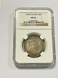 Canada - 1903h Silver 50 Cent Coin - Ngc - Ms62 Very Scarce In Uncirculated