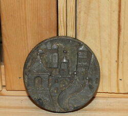 Vintage Russian Moscow Souvenir Metal Plaque Paper Weight