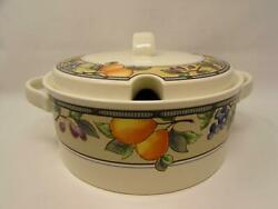 Garden Harvest By Mikasa Tureen And Lid Intaglio Fruit And Leaves On Rim Cream