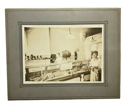 Vintage 1930s African American Woman Integrated Butcher Shop Store Photo