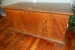 Antique Original Paint Grain-painted Blanket Chest With Glove Box Coffee Table