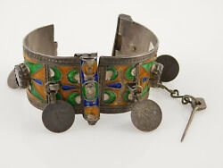 Antique Silver Berber Bracelet Morocco With Enamel Glass And Dangling Coins 81.8g