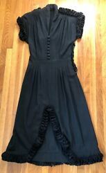 Vintage 1930and039s Black Rayon Ruffle Trimmed Dress W/ Slit
