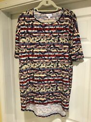 LuLaRoe Women's Tunic Top Size Small Bald Eagles High low Red White Blue Yellow