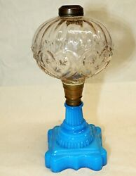 Antique Boston And Sandwich Glass Oil Lamp Ruffled Hearts And Stars Font Blue Eapg