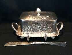 Antique Victorian Covered Butter Dish With Knife Silver Plate Wilcox Co. 1885