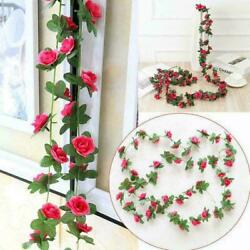2.5M 45 Head Artificial Rose Vine Hanging Flowers For Wall Plants DIY Y9F6