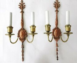 ⭐ 2 Tall Copper And Brass E F Caldwell Signed Sconces Circa 1904. Offers