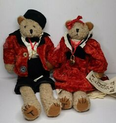 Enesco Teddy Tompkins Limited Edition Collectible Bears 16 Lizzy And Timothy