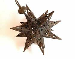 Vintage French Hanging Lantern Moroccan ? 18 Point Star quot;Moravianquot; Star