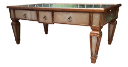Theodore Alexander Eglomise Gilded Wood And Glass Coffee Table Leather Pull Outs