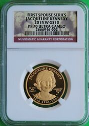 Perfect And Rare 2015 W Jackie Kennedy First Spouse 1/2 Oz Gold Ngc Pf70 Ucam