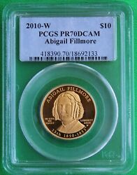 Perfect And Rare 2010w Abigail Fillmore Spouse 1/2 Oz. 99.9 Gold Ngc Pf70 Dcam