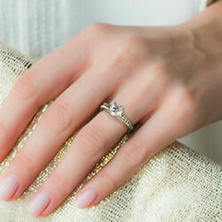 0.98 Ct Real Diamond Engagement Ring For Women Solid 14k White Gold Size 6 7 8