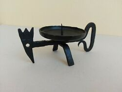 Antique Vintage Colectable Black Hand Forged, Wrought Iron Candle Holder Еthnic