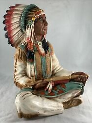 """Vintage 13"""" Universal Statuary Native American Indian Chief Peace Pipe Statue"""