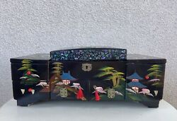 """Vintage Japanese Jewelry Music Box Black Lacquer Scenery Art 15""""x 7"""" Mirrors"""