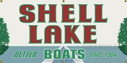 Shell Lake Boats Vintage Old School Sign Remake Banner Art Mural Various Sizes