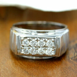 0.40 Ct Real Diamond Engagement Ring Solid 14k White Gold Men's Band Size 11 12