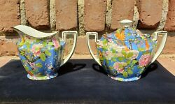 Antique Crown Ducal Ware Cream Creamer Cup And Sugar Bowl Blue Chintz England 1185