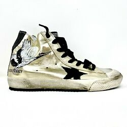 Golden Goose Francy High-top Painted Star Sneakers Gold Leather Eu Size 40