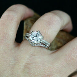 1.00ct Real Diamond Engagement Ring For Lady 14k White Gold Rings 6 7 8 9