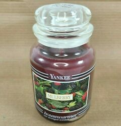 Vintage YANKEE Candle Co. MULBERRY Black Band 22 oz Candle Discontinued Retired