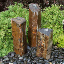 Triple Basalt Stone Column Fountains Contact Us For Shipping Frist