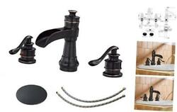 Waterfall Widespread Bathroom Faucet 3 Hole Oil Rubbed Farmhouse 8 Inch Bronze