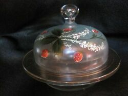 Rare Antique Vintage Hand-painted Glass Butter/cheese/candy Dish With Coverold