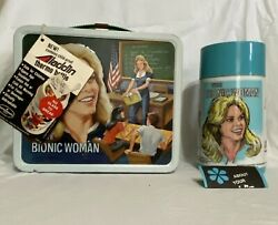 Vintage 1978 Bionic Woman Metal Lunch Box And Thermos Unused W Tags Near Mint Cond