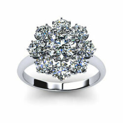 Solid 14k White Gold Rings 1.20 Ct Round Diamond Engagement Ring Size 5 6 7 8 9