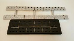 2 Vintage Navy Cribbage Boards Black Uss Blackhawk And Silver Track Style